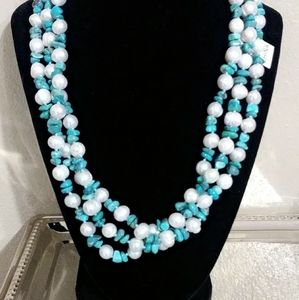 Cultured freshwater pearl and turquise necklace an